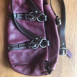Burgundy and Brown Leather Coach Purse